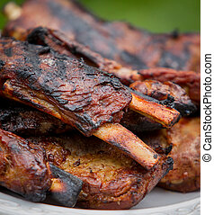 Pork Ribs Off The Grill - Pork ribs with sause off the grill...