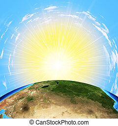Earth with sun on sky background