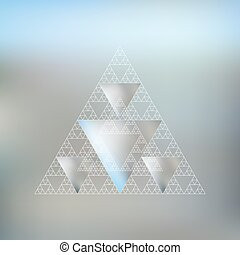 Triangular pattern with the reflection of environment on...