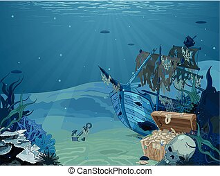 The Wreck - Illustration of sunken sailboat on seabed...