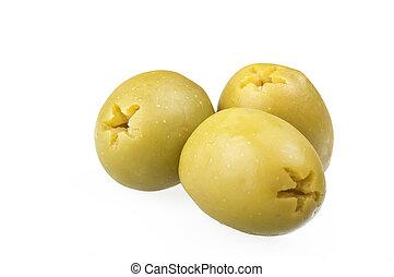 dénoyauté, vert, olives, ,