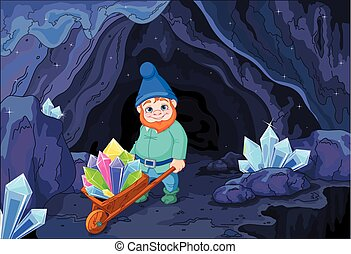 Gnome with Quartz Crystals - Illustration of gnome carries a...