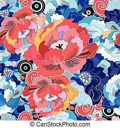 bright floral pattern - beautiful colorful flowers peonies...