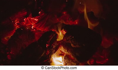 HD fire on black background Slow motion