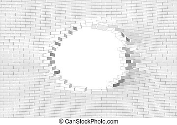 White brick wall with hole