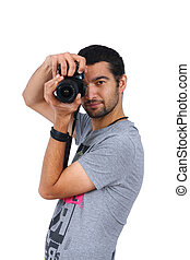 professional photographer isolated on white background