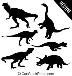 Set of dinosaur silhouettes on white background, vector...