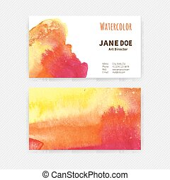 Business cards Watercolor - Set of two business cards with...