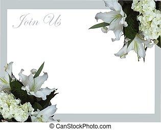 White mountain lily wedding invitation