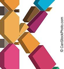 3d font letter K - Colorful three-dimensional font letter K