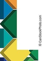 3d font letter L - Colorful three-dimensional font letter L