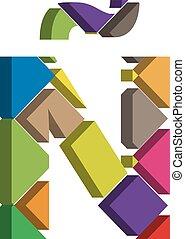 3d font letter Ñ - Colorful three-dimensional font letter Ñ