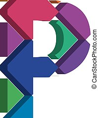 3d font letter P - Colorful three-dimensional font letter P