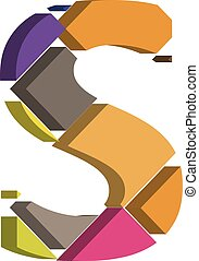 3d font letter S - Colorful three-dimensional font letter S