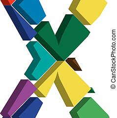 3d font letter X - Colorful three-dimensional font letter X
