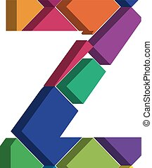 3d font letter Z - Colorful three-dimensional font letter Z