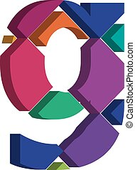 3d font letter g - Colorful three-dimensional font letter g