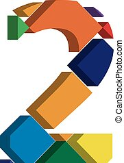 3d font number 2 - Colorful three-dimensional font number 2