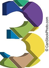 3d font number 3 - Colorful three-dimensional font number 3