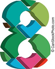 3d font number 8 - Colorful three-dimensional font number 8