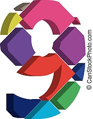 3d font number 9 - Colorful three-dimensional font number 9