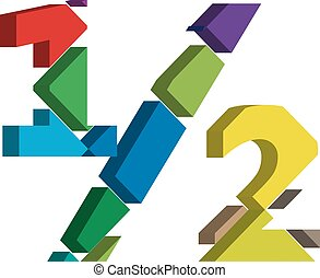 3d font symbol - Colorful three-dimensional 1/2 Symbol