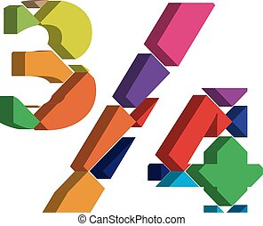 3d font symbol - Colorful three-dimensional 3/4 Symbol