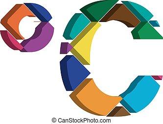 3d celcius symbol - Colorful three-dimensional celcius...