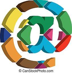 3d AT symbol - Colorful three-dimensional AT Symbol