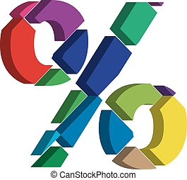 3d PERCENT symbol - Colorful three-dimensional PERCENT...