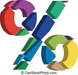 3d PERCENT symbol - Colorful three-dimensional PERCENT...