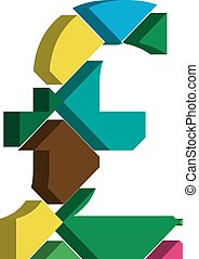 3d POUND symbol - Colorful three-dimensional POUND Symbol