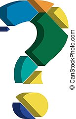 3d QUESTION MARK symbol - Colorful three-dimensional...