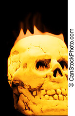 Burning Skull - Hot glowing and burning skull with flames