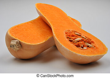 organic, healthy and raw opend butternut squash