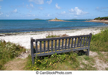 Bench with a view of Porthloo beach, St. Mary\'s Isles of...