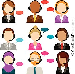 Call Center Service Diversity Icons - Faceless call center...