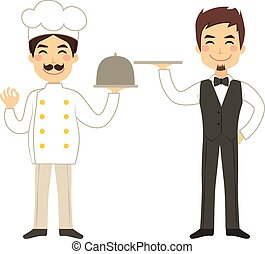 Chef And Waiter Holding Tray