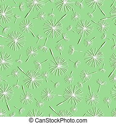 Light green seamless pattern with dandelion fluff.eps -...