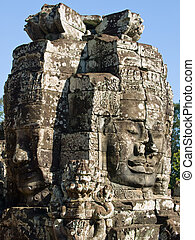 Cambodia faces - The picture of cute antient face from siem...