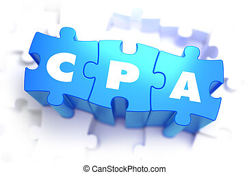 CPA - White Word on Blue Puzzles. - CPA - Cost Per Action -...