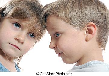 children friends split - split children couple on the white...