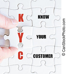 Last puzzle piece with Business Acronym KYC - Hand of a...