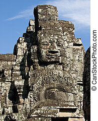 cambodian stone face - The picture of antient temple of...