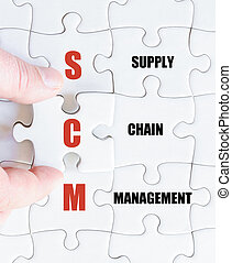 Last puzzle piece with Business Acronym SCM - Hand of a...