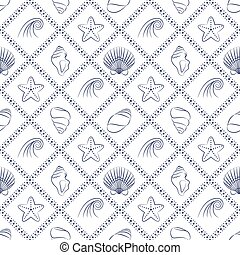 Elegant nautical pattern in navy blue and white colors. -...