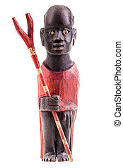 kenya warrior - a wooden kenya warrior figurine isolated...
