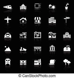 Real estate icons with reflect on black background, stock...