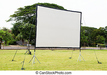 Projection screen in the garden