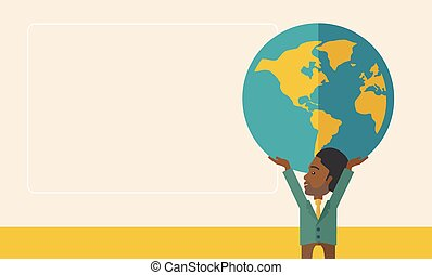 Black Businessman carrying big globe.